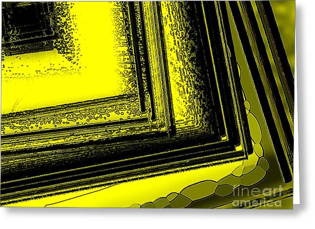 Transparency Geometric Greeting Cards - Yellow over Yellow Art Greeting Card by Mario  Perez