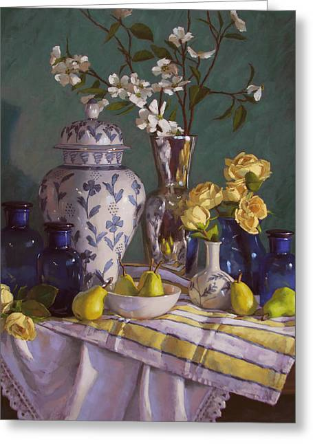 Blue Flowers Pastels Greeting Cards - Yellow Pears and Roses Greeting Card by Sarah Blumenschein