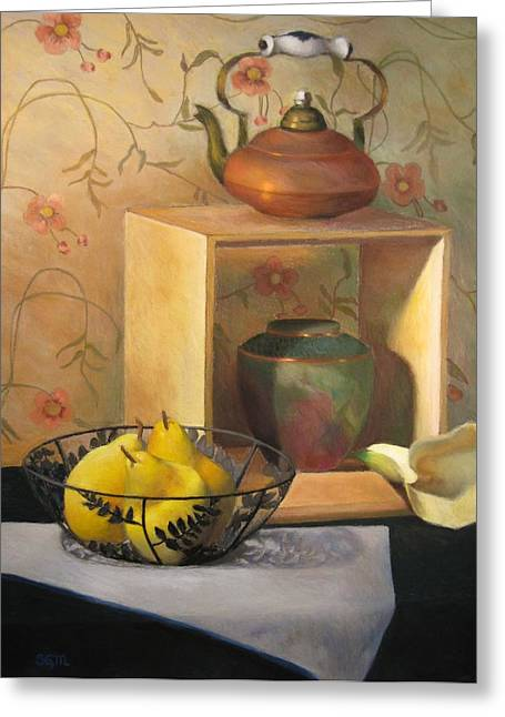 Basket Pastels Greeting Cards - Yellow Pears Greeting Card by Susan Goldstein Monahan