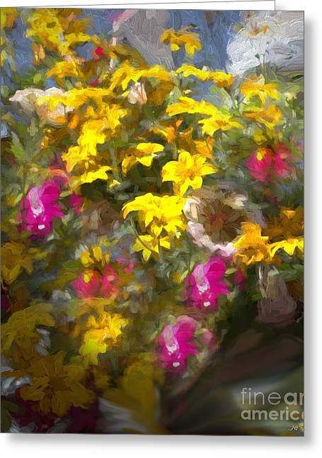 Pink Flower Prints Greeting Cards - Yellow Pink Flowers Mixed Media Painting Greeting Card by Heinz G Mielke