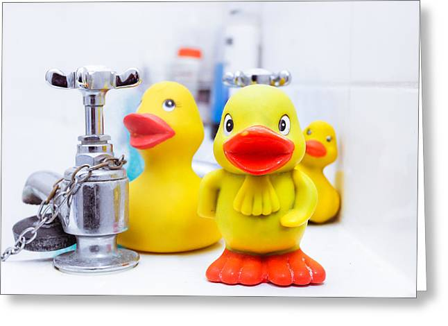 Domestic Bathroom Greeting Cards - Yellow plastic ducks Greeting Card by Tom Gowanlock