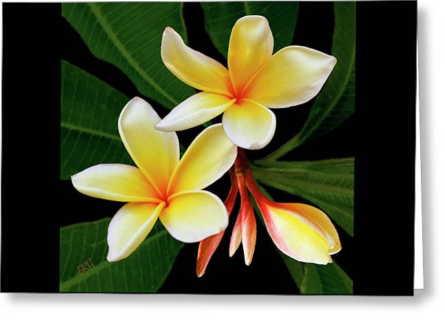 Best Sellers -  - Floral Digital Art Greeting Cards - Yellow Plumeria Greeting Card by Ben and Raisa Gertsberg