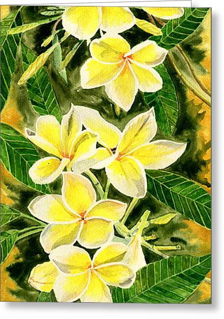 Yellow Plumeria Greeting Card by Melly Terpening