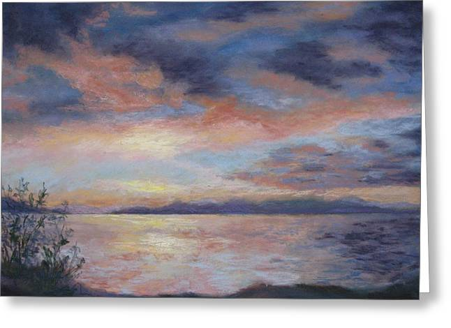 British Columbia Pastels Greeting Cards - Yellow Point Sunset Greeting Card by Marlene Kingman