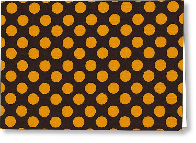 Ornamentation Greeting Cards - Yellow Polka Dots On Black Fabric Background Greeting Card by Keith Webber Jr
