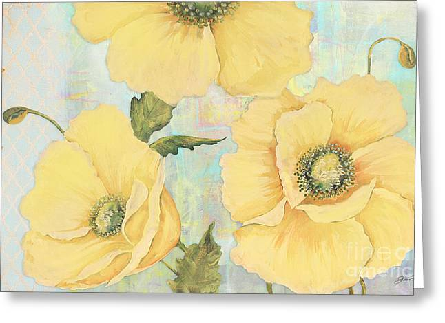 Floral Digital Art Digital Art Greeting Cards - Yellow Poppies Greeting Card by Jean Plout