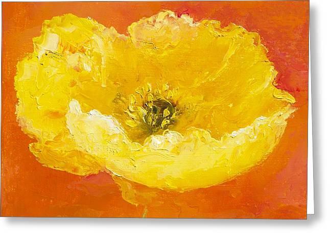 Print Of Poppy Greeting Cards - Yellow Poppy Greeting Card by Jan Matson