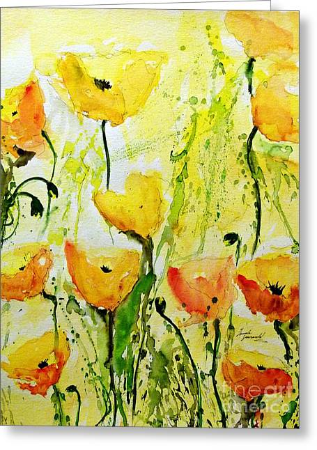Gruenwald Greeting Cards - Yellow Poppys - Abstract Floral Painting Greeting Card by Ismeta Gruenwald