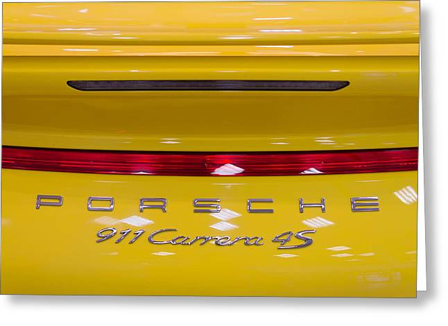 Chrome Greeting Cards - yellow Porsche Greeting Card by Stylianos Kleanthous