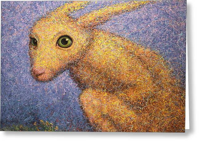 Green Eyes Greeting Cards - Yellow Rabbit Greeting Card by James W Johnson