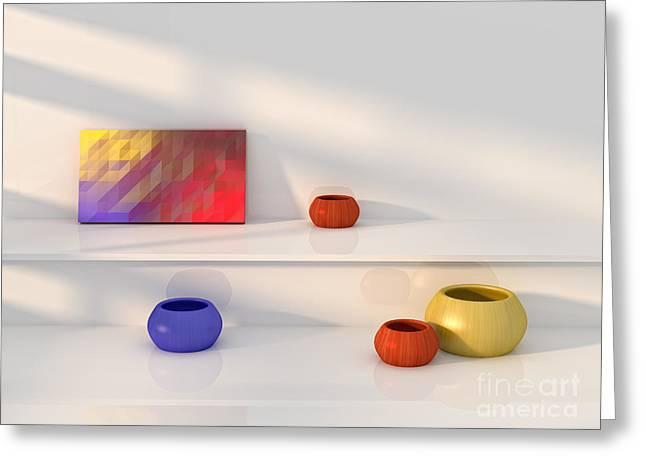 """""""indoor"""" Still Life Digital Art Greeting Cards - Yellow red blue vase still life. Greeting Card by Jan Brons"""