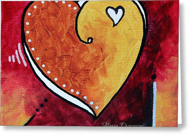 Licensor Greeting Cards - Yellow Red Orange Heart Love Painting Pop Art Love by Megan Duncanson Greeting Card by Megan Duncanson