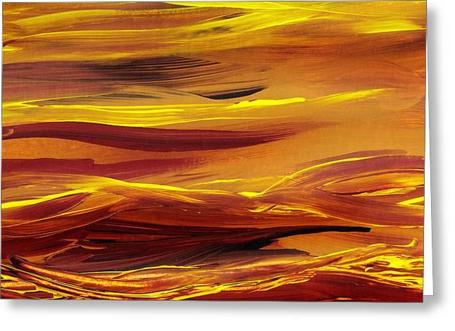 Yellow River Flow Abstract Greeting Card by Irina Sztukowski