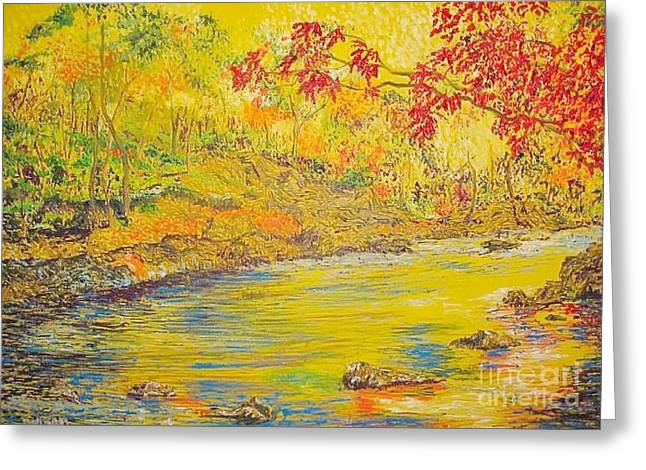 Squiggleism Greeting Cards - Yellow River Greeting Card by Stefan Duncan
