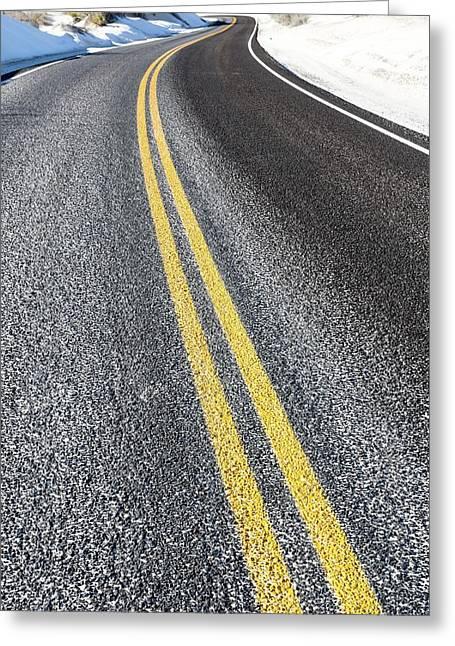 Yellow Road Markings Greeting Card by Wladimir Bulgar