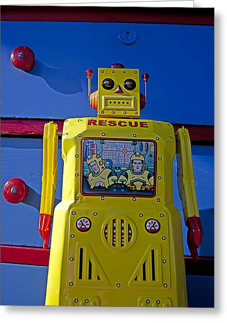 Robotic Greeting Cards - Yellow robot in front of drawers Greeting Card by Garry Gay