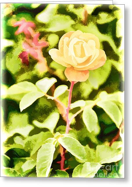 Flower Still Life Prints Greeting Cards - Yellow Rose flower Painting in Color 3227.02 Greeting Card by M K  Miller