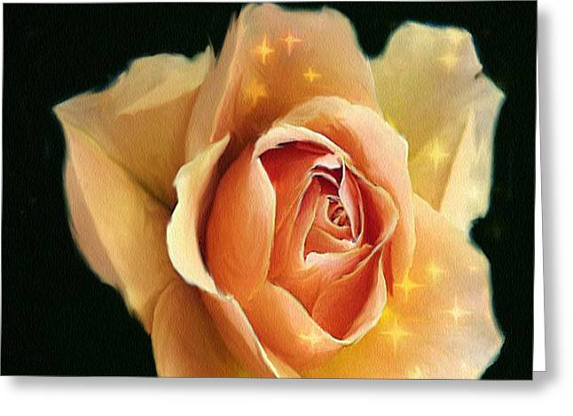 Rose Highlights Greeting Cards - Yellow Rose Highlighted Greeting Card by Dennis Buckman