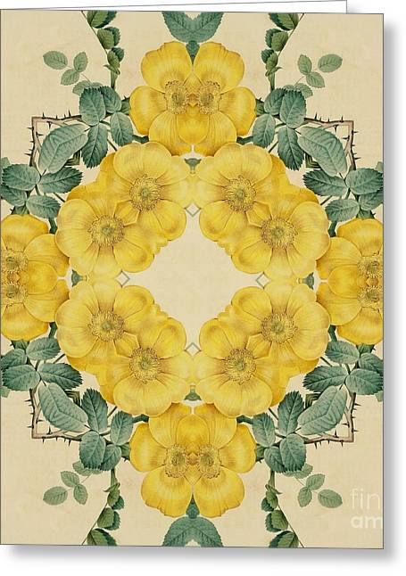 Becky Digital Art Greeting Cards - Yellow Rose Kaleidoscope-2 Greeting Card by Becky Hayes