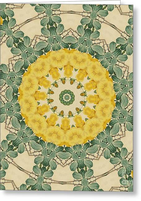 Becky Digital Art Greeting Cards - Yellow Rose Kaleidoscope-5 Greeting Card by Becky Hayes