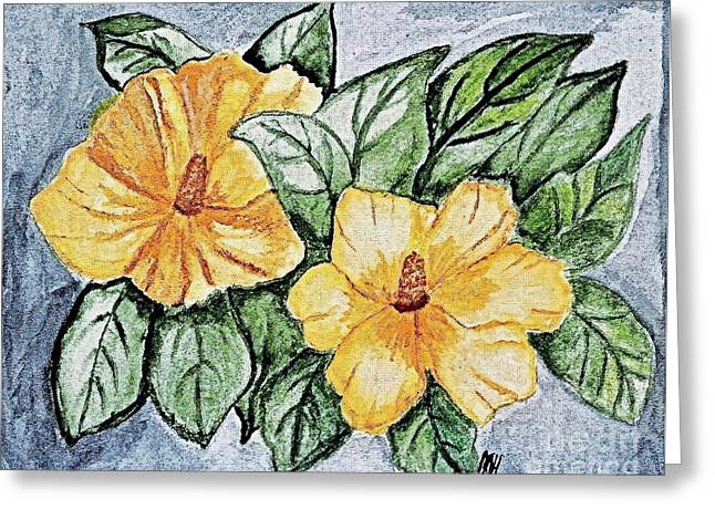 Rose Of Sharon Greeting Cards - Yellow Rose of Sharon Painting Greeting Card by Marsha Heiken