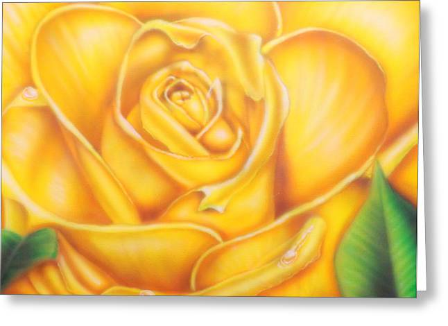 Droplet Paintings Greeting Cards - Yellow Rose of Texas Greeting Card by Darren Robinson
