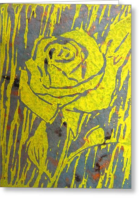 Printmaking Paintings Greeting Cards - Yellow Rose on Blue Greeting Card by Marita McVeigh
