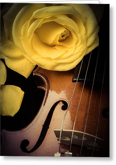 Violin Bows Violin Bows Greeting Cards - Yellow Rose On Violin Greeting Card by Garry Gay