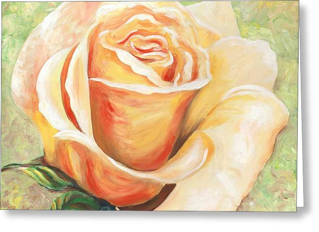 Inspirational Greeting Cards - Yellow Rose One Greeting Card by Linda Mears