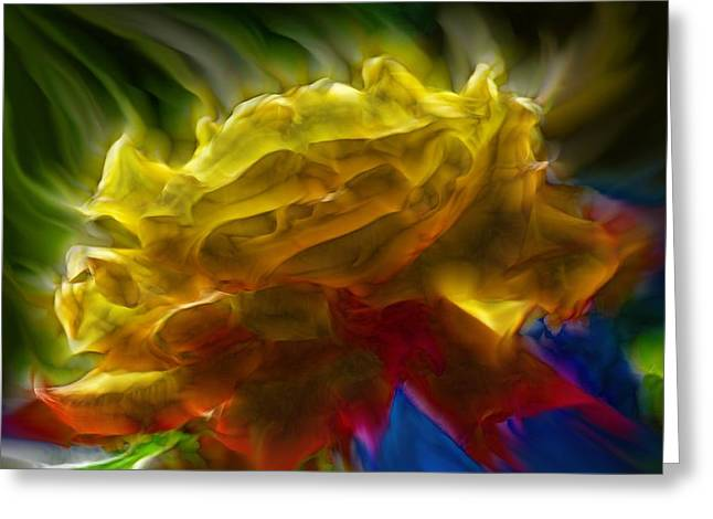 Purchase Greeting Cards - Yellow Rose Series - Colorful Fractal Greeting Card by Lilia D