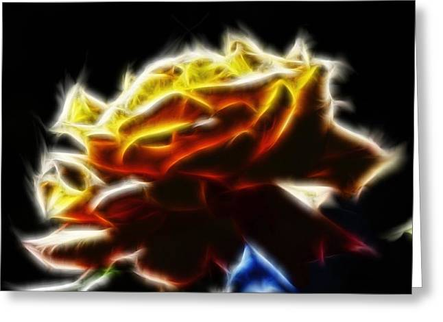 Yellow Rose Series - Neon Fractal Greeting Card by Lilia D