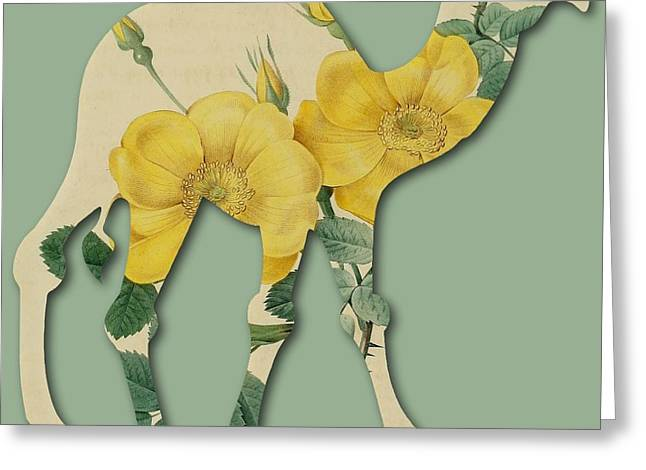 Becky Digital Art Greeting Cards - Yellow Roses Camel Greeting Card by Becky Hayes