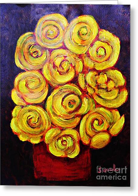 Yellow Roses In A Red Vase Greeting Card by Sarah Loft
