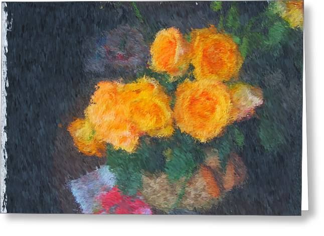 Van Gogh Style Photographs Greeting Cards - Yellow Roses in a Vase Greeting Card by Mario Carini