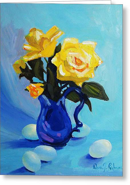 Roses Sculptures Greeting Cards - Yellow Roses In Blue Vase Greeting Card by Dan Redmon