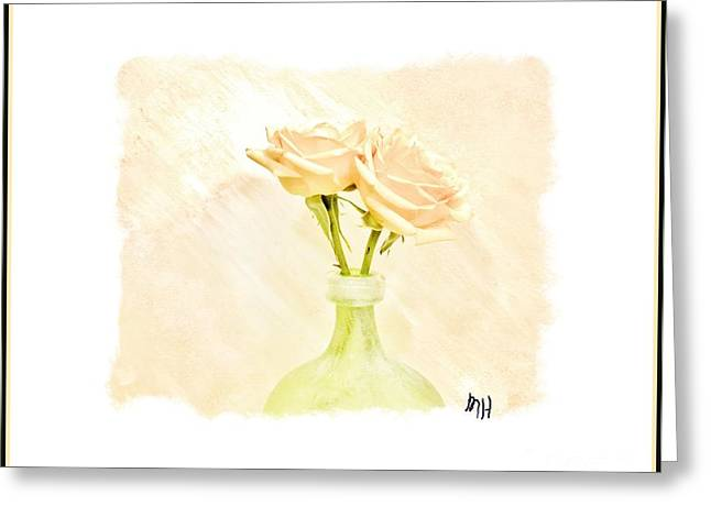 Boarder Greeting Cards - Yellow Roses in Lime Vase Greeting Card by Marsha Heiken