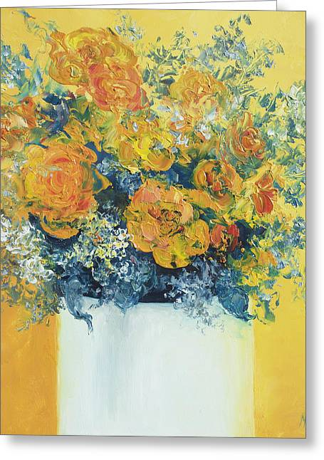 Interior Still Life Paintings Greeting Cards - Yellow Roses Greeting Card by Jan Matson