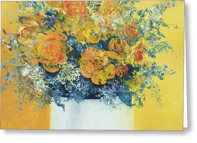 Flower Still Life Prints Greeting Cards - Yellow Roses Greeting Card by Jan Matson