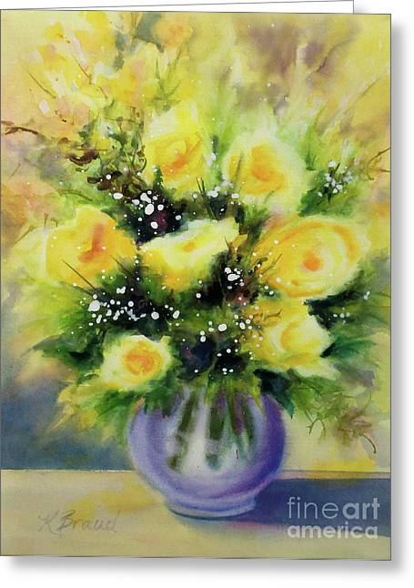 All Floral Art Greeting Cards - Yellow Roses Greeting Card by Kathy Braud