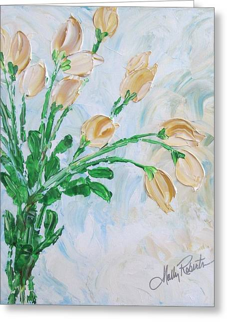 Vase Of Flowers Greeting Cards - Yellow Roses Greeting Card by Molly Roberts