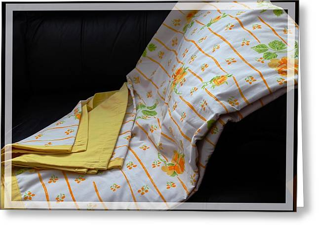 Warm Quilt Tapestries - Textiles Greeting Cards - Yellow Roses on a Quilt Greeting Card by Barbara Griffin