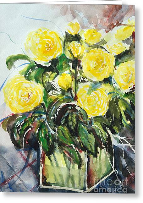 Ismeta Paintings Greeting Cards - Yellow Roses- Painting Greeting Card by Ismeta Gruenwald