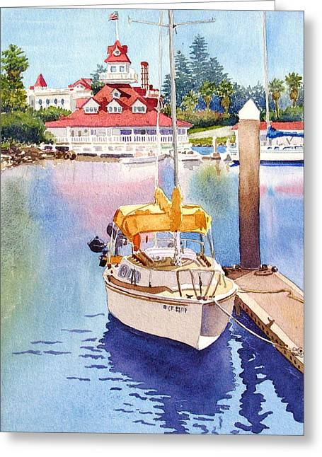 Docked Sailboats Paintings Greeting Cards - Yellow Sailboat and Coronado Boathouse Greeting Card by Mary Helmreich