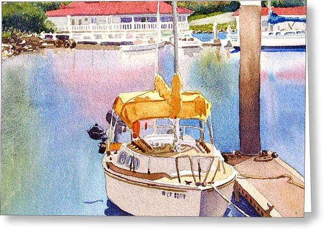 Yellow Sailboat and Coronado Boathouse Greeting Card by Mary Helmreich