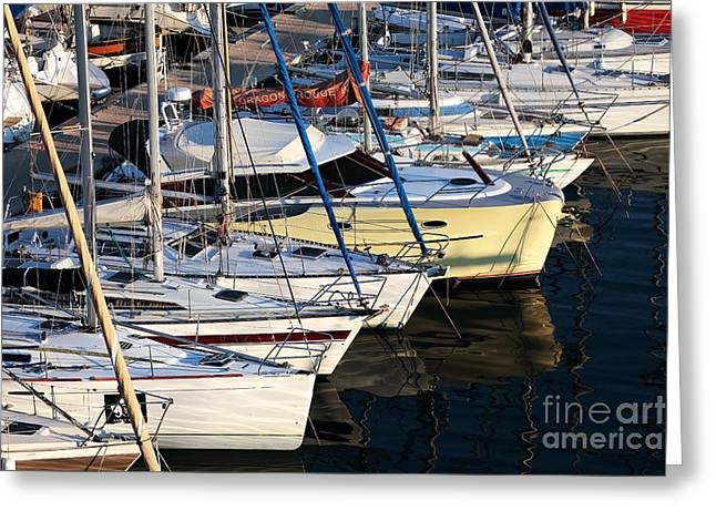 Yellow Sailboats Greeting Cards - Yellow Sailboat at Marseille Greeting Card by John Rizzuto