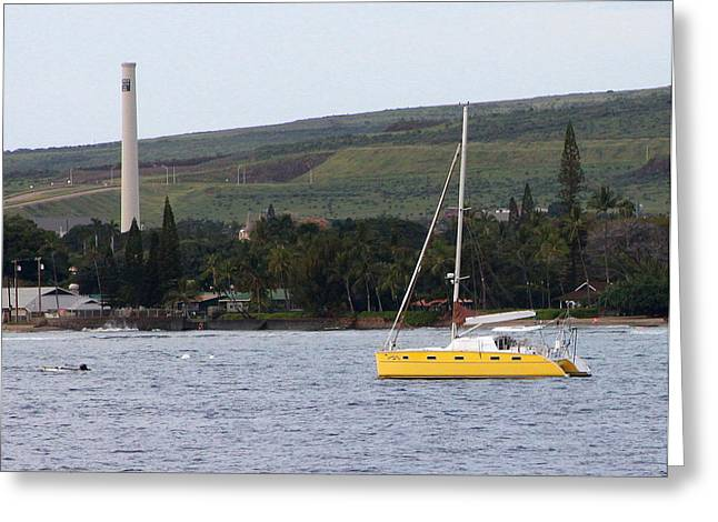 Lahaina Greeting Cards - Yellow Sailboat in Lahaina Greeting Card by Camm Kirk