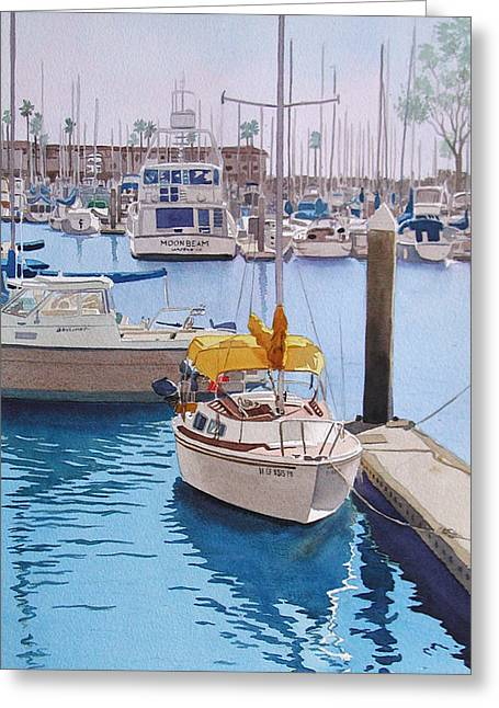 Sailboats Docked Greeting Cards - Yellow Sailboat Oceanside Greeting Card by Mary Helmreich