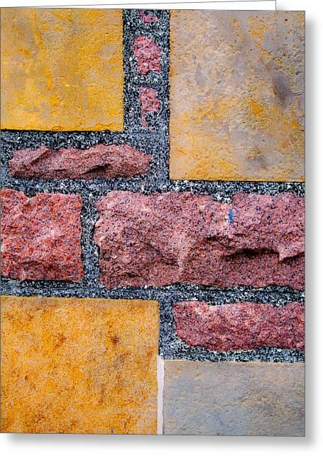 Red Granite Greeting Cards - Yellow Sandstone and Red Granite Greeting Card by Hakon Soreide
