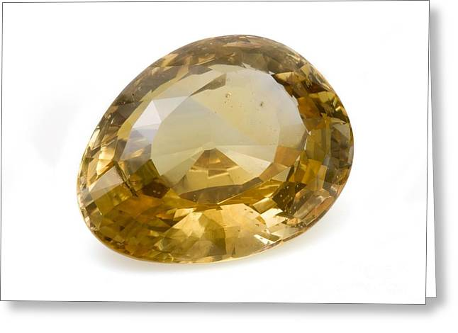 Hematite Greeting Cards - Yellow Sapphire Greeting Card by Natural History Museum, London