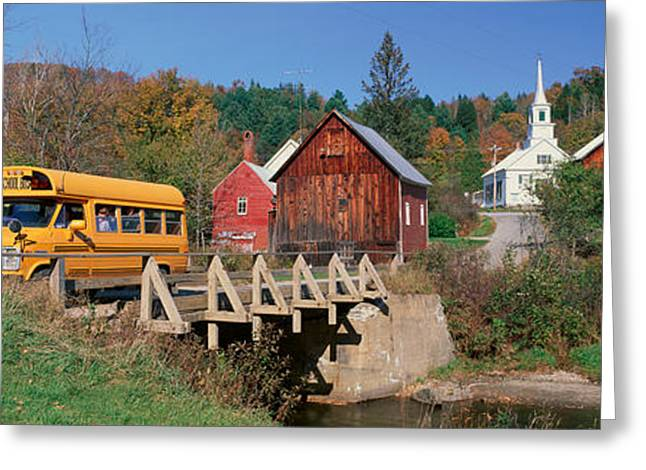 Small Towns Greeting Cards - Yellow School Bus Crossing Wooden Greeting Card by Panoramic Images
